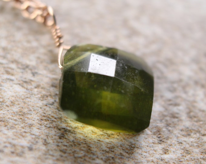 Olive Green Cushion Cut Vessuvianite Necklace