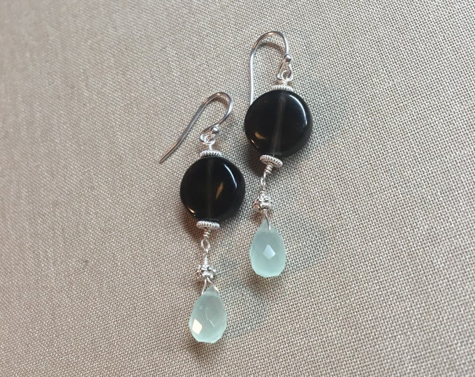 Smooth Smoky Quartz and Chalcedony Earrings with Sterling and Bali Silver Accents