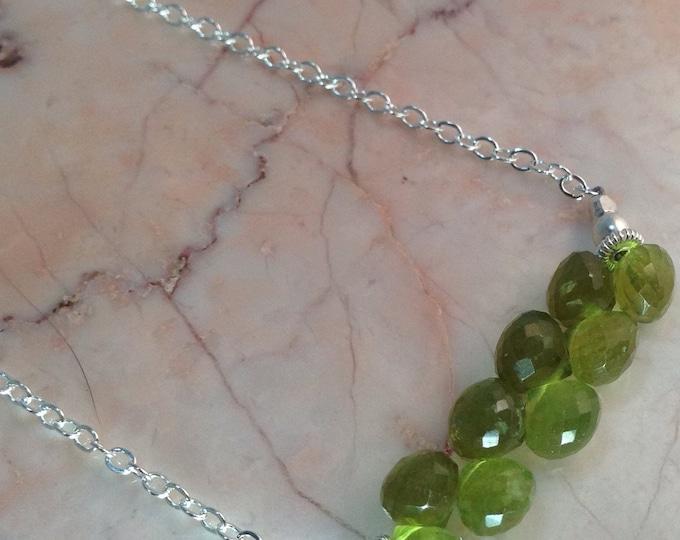 Green Vessuvianite Bar Necklace