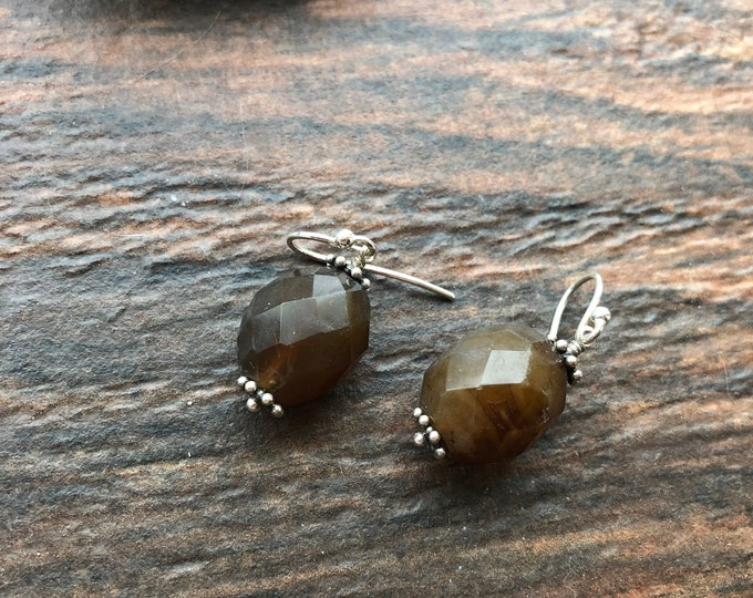 Handmade Brown Chalcedony and Bali Silver Earrings