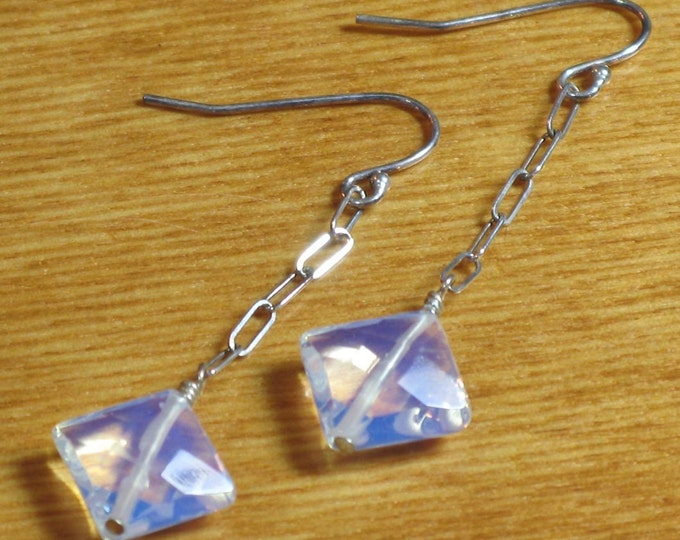 Faceted Diamond Shaped Opalite Earrings