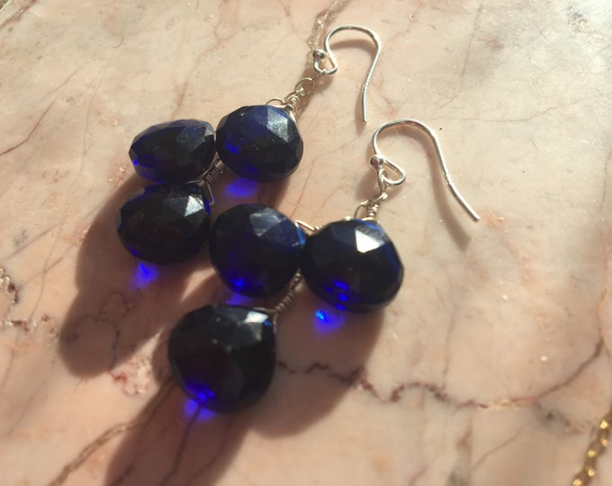 Royal Blue Quartz Cluster Earrings