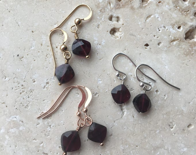 Cushion Cut Garnet Littles Earrings in Your Choice Sterling Silver, Rose Gold, Gold Filled, Gift, Minimalist, Delicate, Dainty