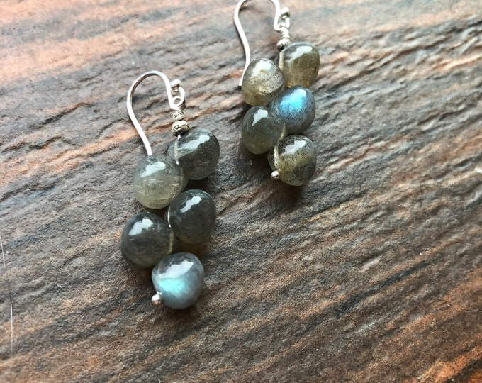 Unique Labradorite Smooth Onion Drop Earrings Sterling Silver