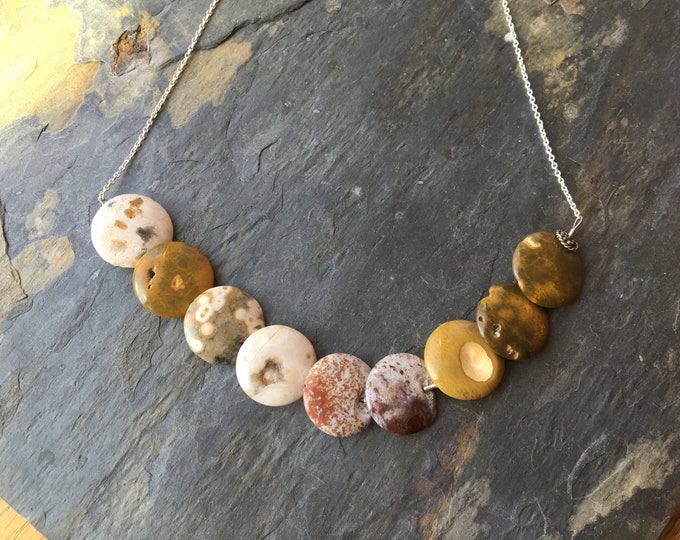 Ocean Jasper Moon Circle Necklace Sterling Silver Unique Special OOAK Natural Neutral Beige Brown Cream