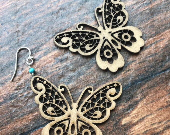 Laser Cut Wooden Butterfly Earrings Sterling Silver Turquoise December Birthstone Fun Light Gift