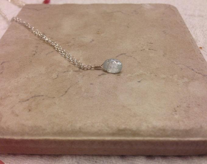 Milky Aquamarine March Birthstone Necklace