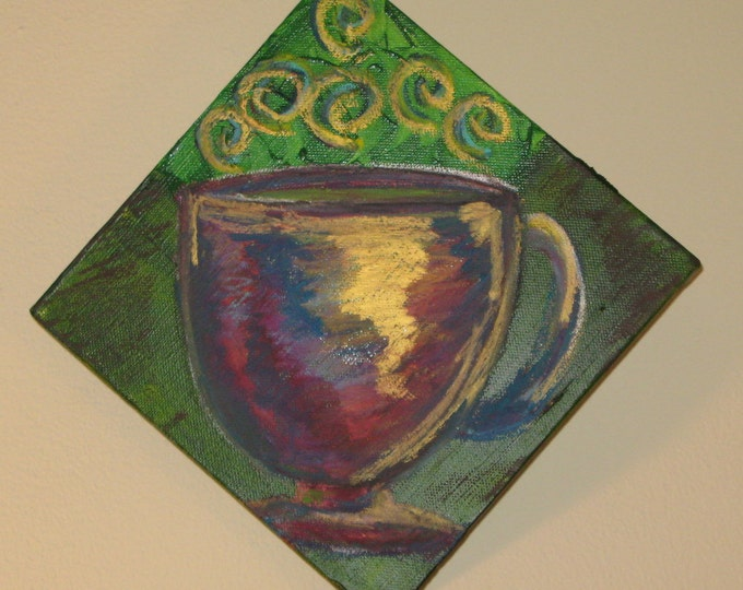 Colorful Coffee Painting 8x8 Original Art