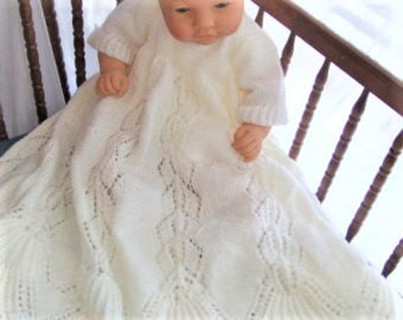Christening Gown Knit Pattern Baby Girl Or Boy Baptism Etsy