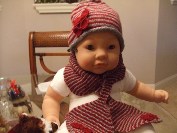 Baby girl or boy knit hat and scarf set baby girl striped hat  7470550f94b