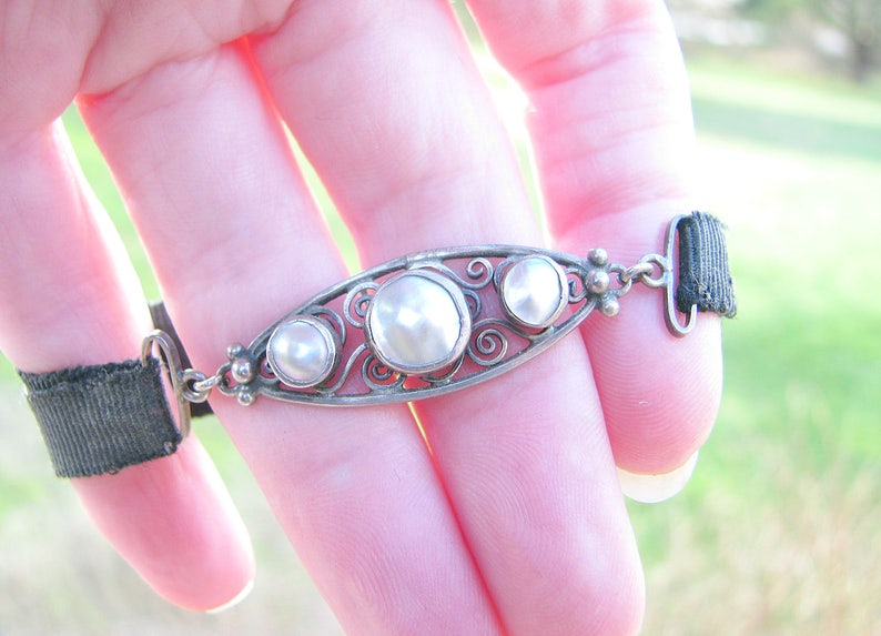 Arts And Crafts Silver and Pearl Bracelet Scrolling Design Antique Bracelet with Cloth Band Lustrous Pearls Classic Black and White