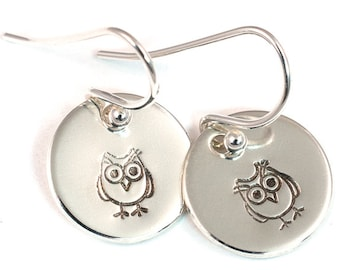 Owl Dangle Earrings - Little Girl Earrings - Girls Earrings - Flower Girl Earrings - Silver Earrings - Hand Stamped - Sterling Silver