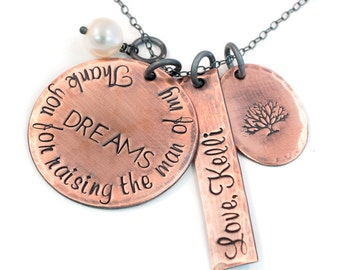 Rustic Copper Thank You for Raising the Man of My Dreams Mother in Law Necklace, Copper Necklace, Gift for Mom