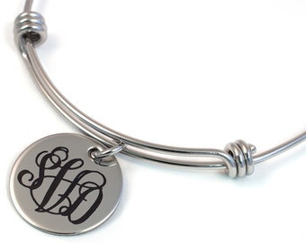 Monogram Bangle - Engraved Monogram - Vine Monogram - Stainless Steel Bracelet - Monogram