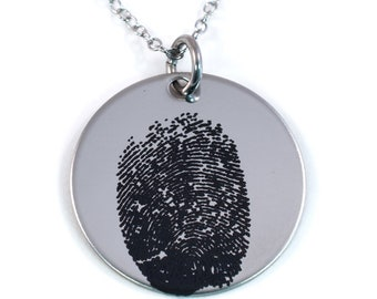 Actual Fingerprint Necklace - Stainless Steel - Fingerprint or Thumbprint