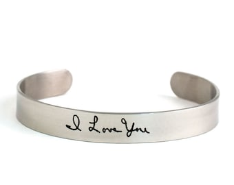 Actual Handwriting Bracelet - Signature Cuff Bracelet - Handwriting Jewelry - Signature Jewelry - Stainless Steel - Laser Engraved