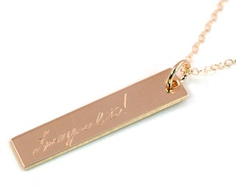 Handwriting Necklace - Actual Handwriting Jewelry - Personalized Bar Necklace - Gold Fill Tag Necklace - Engraved Tag Necklace