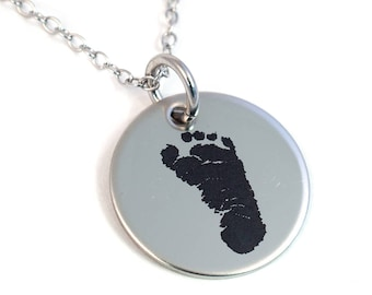 Actual Footprint Necklace - Stainless Steel - Laser Engraved