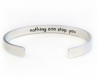 Hidden Message Bracelet Double Sided Cuff- Hand Stamped Secret Message Cuff - Personalized Aluminum Bracelet
