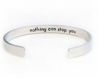 Personalized Cuff Bracelet, Hidden Message Cuff, Aluminum Cuff Bracelet, Hand Stamped Custom Bracelet