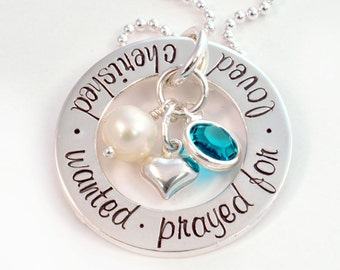 Adoption Necklace - Cherished, Wanted, Prayed For, Loved Open Circle Necklace