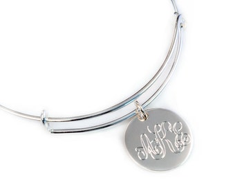 Monogram Bangle - Personalized Expandable Bangle - Monogrammed Bangle - Monogram Bracelet - Sterling Silver