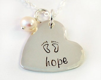 Hope Infertility Necklace, Handstamped Sterling Silver Heart Necklace with Freshwater Pearl, Fertility Necklace, Hope Jewelry