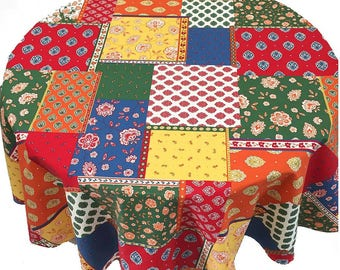 French Tablecloth, French Country Tablecloth, Colorful Tablecloth, Primary Patchwork