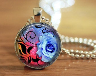 Blue Rose Pendant, Blue Filigree Rose Pendant, Floral Pendant, Blue Flower Pendant, Filigree Rose, Blue Silk Rose, Photo Pendant