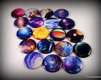 """1"""" Flat Back Buttons, Space & Galaxy Cabachons, 12ct."""