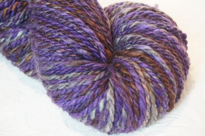 Purple Hand Spun Yarn BFL Weaving Crochet Gray Handspun Yarn Sparkle Fiber Art Knitting Firestar