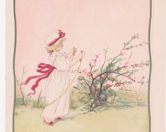Vintage Kate Greenaway Book Plate Art Print - Girl Jumping Rope