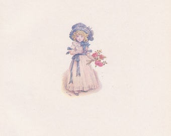 Vintage Kate Greenaway Book Plate Art Print - Taking in the Roses