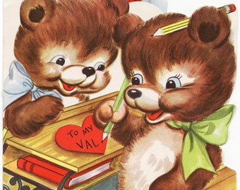 Large Vintage Valentine - Bears and an Airplane of Love - circa 1945. Adorable