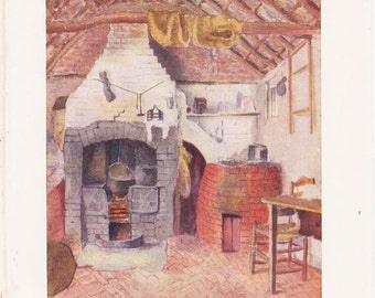 Vintage Kate Greenaway Book Plate Art Print - The Kitchen