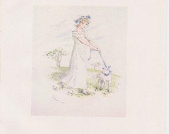 Vintage Kate Greenaway Book Plate Art Print - Mary Had a Little Lamb