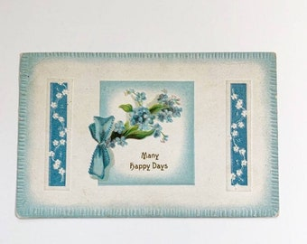 Vintage Greeting Postcard from 1911 with Forget Me Nots