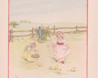 Vintage Kate Greenaway Book Plate Art Print - Girls with Chicks