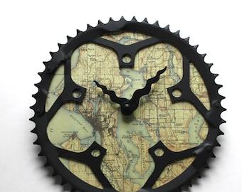 Seattle Fahrrad Uhr |   Karte Uhr | Seattle Stadt Karte Uhr | Fahrrad-Getriebe-Uhr
