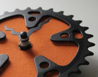 Bicycle Gear Clock - Burnt Orange  |  Bike Clock  | Wall Clock | Recycled Bike Parts Clock