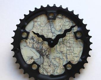 Seattle Fahrrad Uhr | Größe M | Karte Fahrrad Getriebe Uhr | DC-Karte