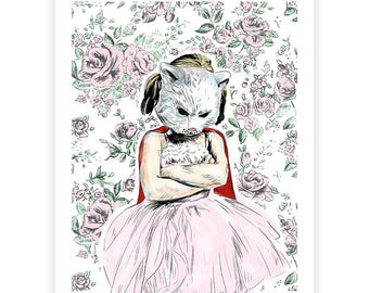Sour Puss Illustration Print