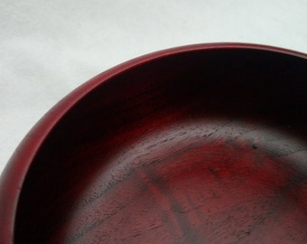 Hand Turned Walnut Bowl with Red Stain and Food Safe Finish