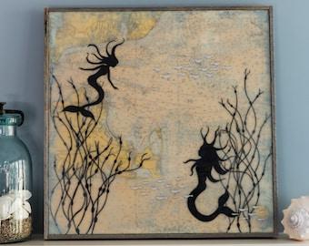 Original encaustic mixed media painting - Mermaid Sisters