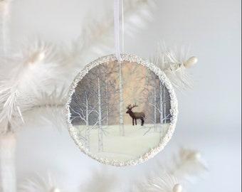 Winter Elk Ornament - Christmas Ornament