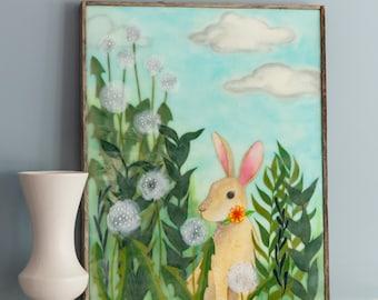Original Encaustic Mixed Media Painting - Rabbit Meadow