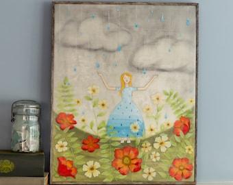 Original Encaustic Mixed Media Painting - Spring Rain