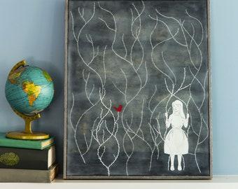 Original Encaustic Mixed Media Painting - Thorn Girl