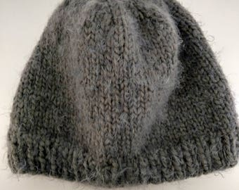 d70657a5c33b3 New Handmade Charcoal Grey Angel Hair Simply Cozy Knit Hat - Women s Extra  Large