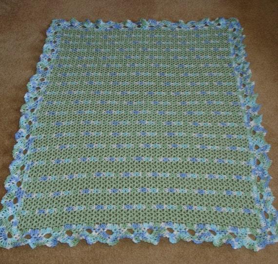 Powder Green and Lovey Nostalgic Wrap Crocheted Baby BlanketAfghan 39 x 46